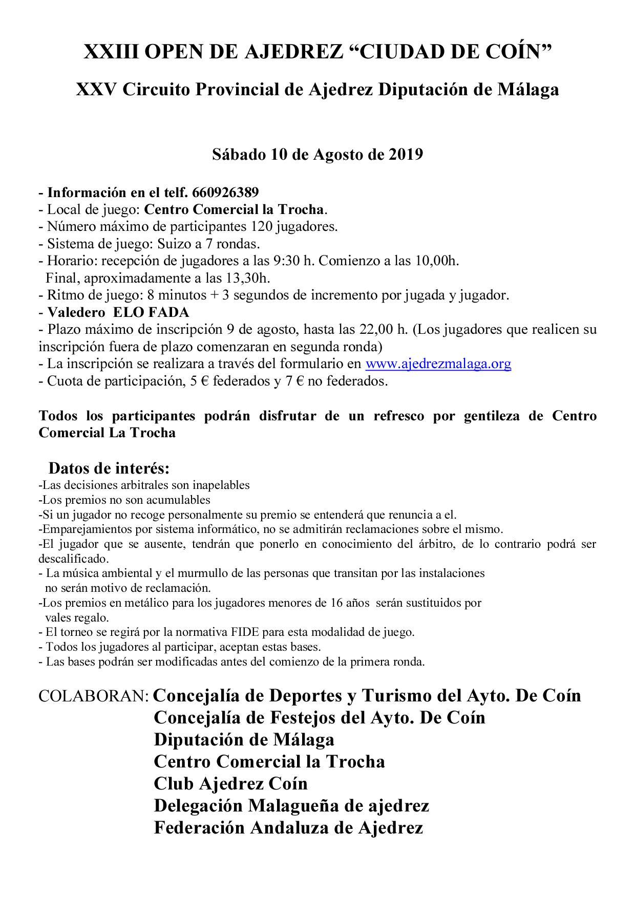 Bases XXIII Open de Ajedrez Ciudad de Coín